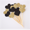 12 Love Heart Cupcake Toppers - Mini Hearts  Black and Gold Glitter
