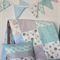 Aqua mint grey modern patchwork cot set. quilt,cushion cover, bunting