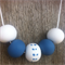Blue and white polymer clay necklace