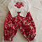 "Size 1- ""Cherry Blossom"" Appliqued Onesie and Capri Pants"