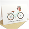 Happy Birthday Card - Female - Coral and Mint Bicycle with Flowers - HBF126