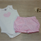 Bloomers & Matching Singlet Onesie Set - Pink Polka Dots - Size 00
