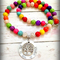 Personalised Colourful Bead Necklace with Family Tree stamped names date quote