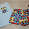 Baby Shorts Set - Shorts & Singlet - Made from Superman Fabric - Size 1