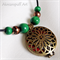 Leather, Geared Pendant & Bead Necklace