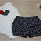 Bloomers & Matching Singlet Onesie Set - Navy Polka Dots & Red Flower Size 00