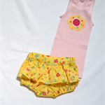 Sale! spring flowers applique singlet &  ruffled nappy cover size 0 yellow  pink