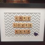 """JAKE LOVES KARA SCRABBLE FRAME - 7"""" X 9"""""""