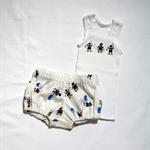 SALE ! little fisherman singlet &  nappy cover newborn baby boy white navy blue
