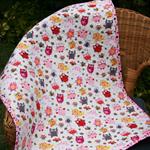 Baby quilt, bassinet, stroller, pram, tummy time, daycare -  owls