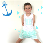 Sailor boy Anchor Shorties and Singlet - pants, shorts, Summer, baby, blue, sea