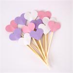 12 Love Heart Cupcake Toppers - Mini Hearts  Pink, Lavender and White