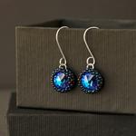 Hand beaded Swarovski crystal stone earrings. Eco-friendly sterling silver.