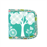 Compact Bi-fold Travel Pocketbook // Wallet Teal Bicycle Tree Print