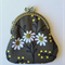 Coin Purse - daisy print on dark taupe background