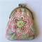 Coin Purse - sketched floral print in pink and taupe