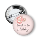 10 Hens party badges - add your text. Pink Floral
