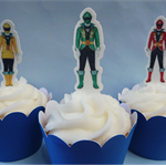 12x Power Rangers EDIBLE cupcake cake toppers PRE-CUT stand up birthday
