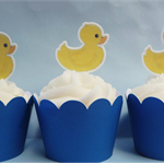 12x Duckling EDIBLE cupcake cake toppers PRE-CUT rubber duck stand up yellow