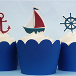 12x Nautical EDIBLE cupcake cake toppers PRE-CUT stand up birthday Voyage cruise