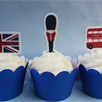 12x London Edible stand up standup cupcake toppers Pre-cut England UK