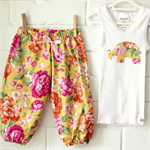 baby elephant | girls bright floral outfit | pants singlet | gift | LAST ONE