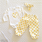Baby Girl's Gold Spotty Pants, Bodysuit and Headband Set - Size 0000