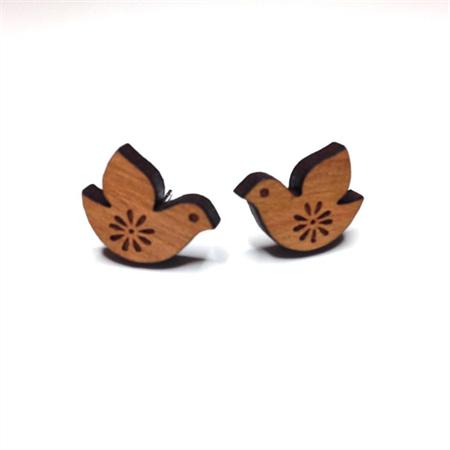 Sweet Bird Wooden Earring Studs