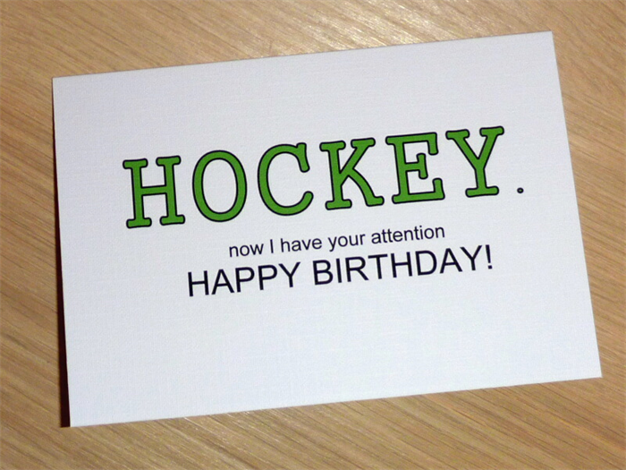 Male Happy Birthday card Beer or choose your own greeting – Hockey Birthday Card