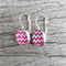 Glass dome hoop earrings - Pink and white chevron stripe