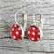 Glass dome hoop earrings - Red and white dots
