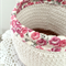 Crochet storage basket, neutral beige, chocolate, roses, Liberty