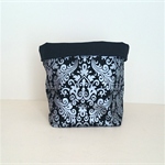 Black and Silver Damask Fabric Basket - Medium
