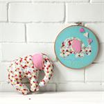 made with love   newborn girl gift   baby nursery elephant toy   hoop art