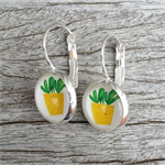 Glass dome hoop earrings - Cactus plant