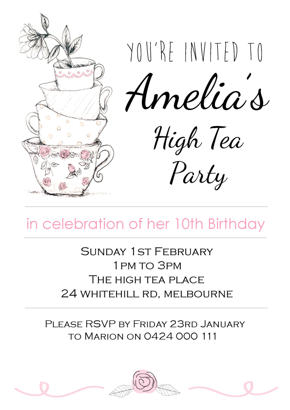 High tea birthday party invitation teacups printable custom high tea birthday party invitation teacups printable custom personalised design stopboris Images