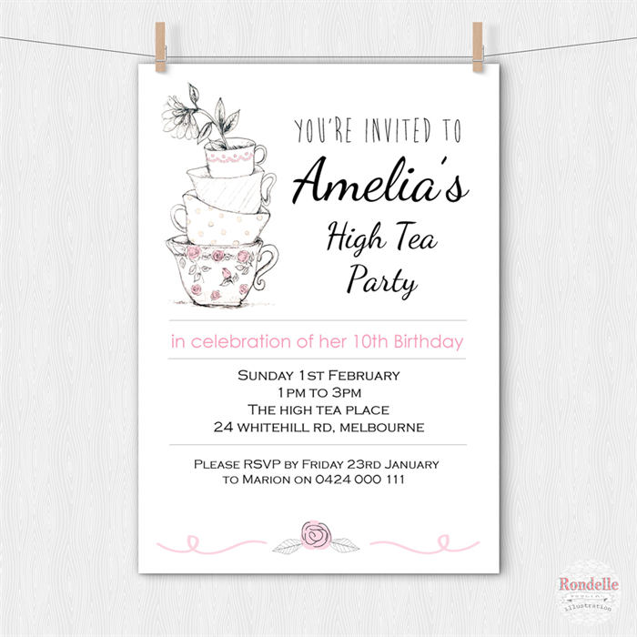 High tea birthday party invitation teacups printable custom high tea birthday party invitation teacups printable custom personalised design filmwisefo Image collections