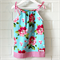 toddler dress   floral   cotton   pillowcase   size 1-2   aqua red pink