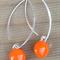 Orange Sterling Silver Fused Glass Drop Earrings