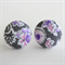 Buy 3 Get 1 Free! Paisley Pink and Grey Fabric Button Stud Earrings