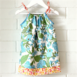 toddler dress | floral | cotton | pillowcase | size 1-2 | aqua green white