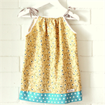 toddler dress | floral | cotton | pillowcase | size 1-2 | yellow blue