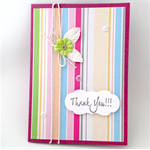 Thank You Card - Dark Pink with stripes