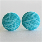 Buy 3 Get 1 Free! Teal Branch Fabric Button Stud Earrings