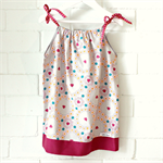 toddler dress | floral | cotton | pillowcase | size 2 | grey pink | ribbon tie
