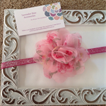 Pink Floral Mesh Flower Headband. Made to size