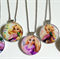5 Tangled Rapunzel Birthday Silver Bezel Pendant Necklaces Party Favours