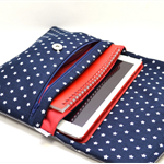 PVC Foldover Clutch - For Ipad/Notebook & more 'Kanagaroos on Navy'