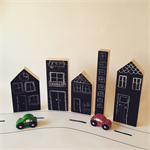 Handmade Set of 5 wooden houses with blackboard front.