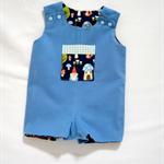 SALE ! ! woodland friends  reversible short overalls boys romper size 00 cotton